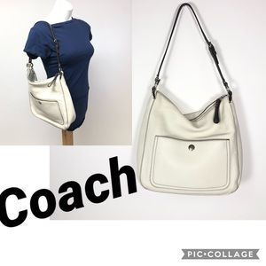 Coach F10891 pebbled leather ivory hobo bag purse